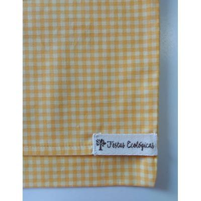 Capa de Almofada Amarela Xadrez