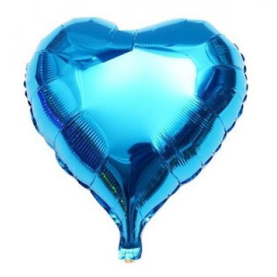 Balão metalizado Coração Azul 25cm