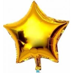 Balão Metalizado Estrela Dourada 25 cm